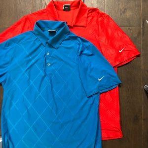 2 EUC Nike Golf Dri- Fit Man's Shirts Size Small